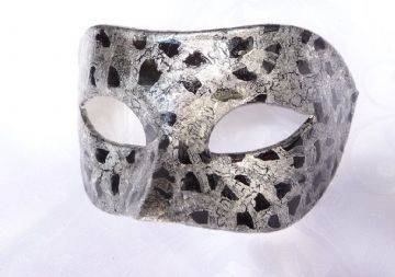 Genuine Venetian Exclusive Silver  Black Crackle Half Mask  (1a